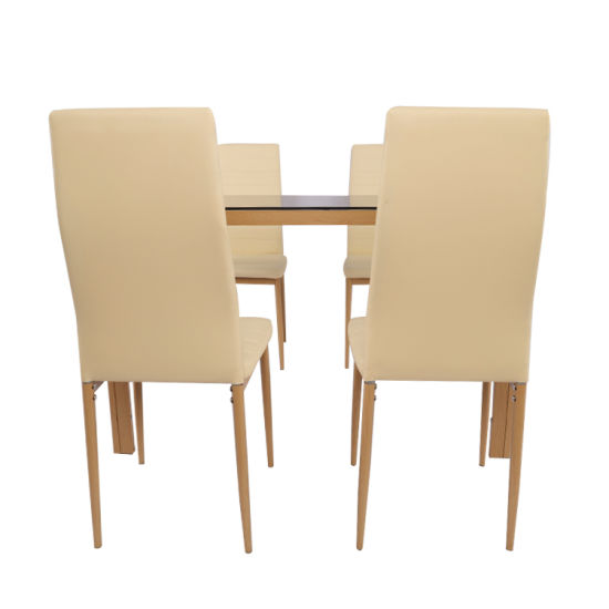 Wholesale Home Furniture for Dining Room Dining Table Rectangle Tempered Glass Top Dining Table Set with 4 Chairs