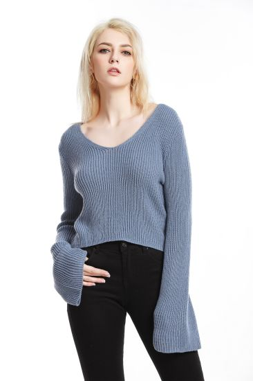 Flared Sleeve Pullover Knitwear Sexy V-Neck Apparel Cropped Top Fashion Sweater