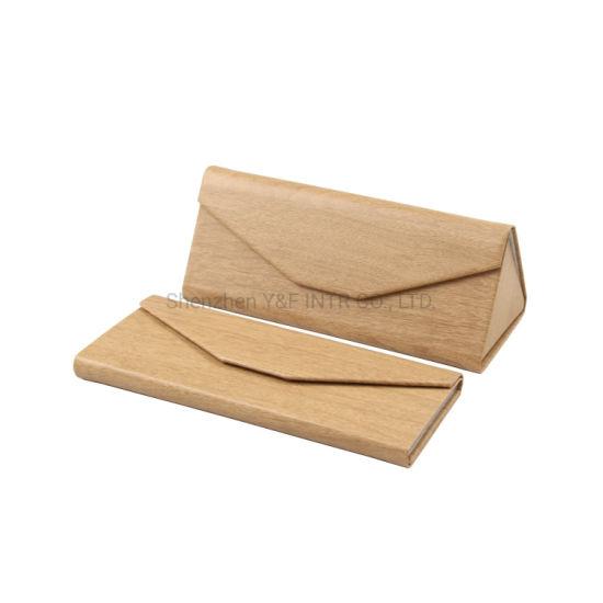 Promotional Folding Triangle Best Leather Glasses Case Magnetic PU Custom Sunglass Case