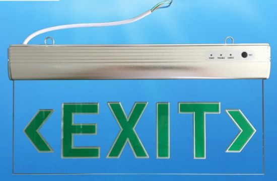 Rechargeable LED Emergency Light with Green Exit Sign