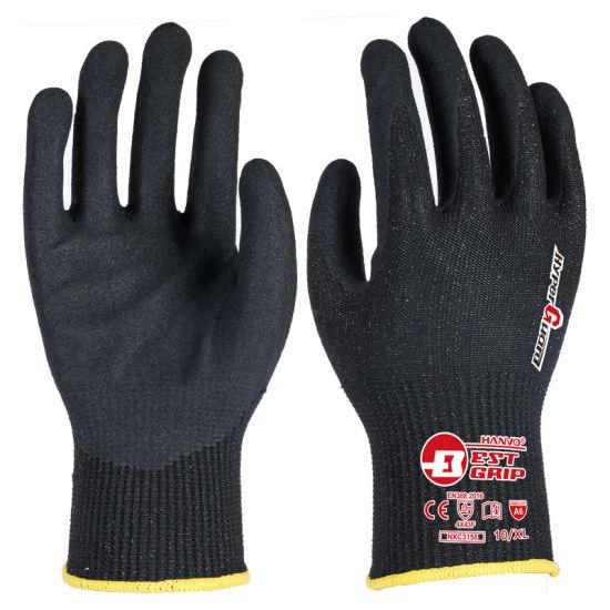 Basalt Fiber Cut A6 13G Cut-Resistant Foam Sandy Nitrile Work Glove