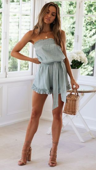 Amazon Hot-Sale New Models Woman Lace-up Sexy Grey-Blue Jumpsuit