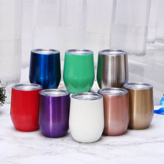 12oz Egg Cup Factory Direct Sell Stainless Steel Double Wall Egg Shape Wine Cup
