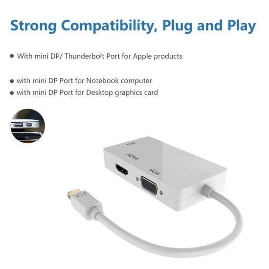 Mini Displayport to HDMI/ DVI /VGA Converter Dp 4 in 1 Audio USB Cable  Adapter for PC Computer