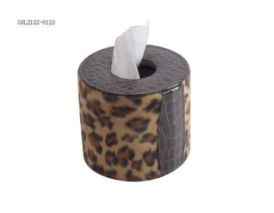 Hotel Supplies Black PU Leather Round Tissue Box Leather