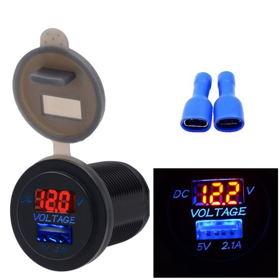 2in1 LED 2.1A USB Charger Voltmeter for Car Boat Marine Truck RV Waterproof