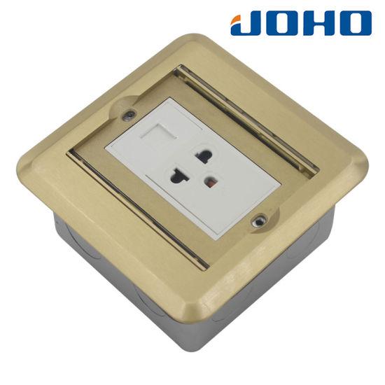 DCT-C18/G Double Open Type Brass Square Shape Floor Socket Box