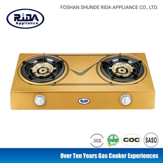 Hot Sale New Golden Color Steel Cap Double Burner Golden Color Stainless Steel Panel Gas Cooker