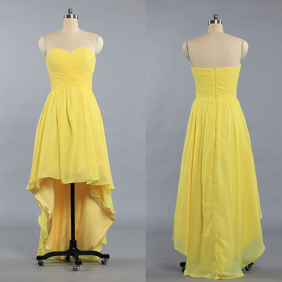 6f219a0e6d395 E494 Fashion High Low Bridesmaid Dresses Yellow Cocktail Prom Dress. Get  Latest Price
