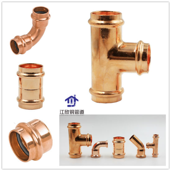 Copper Press Coupling Elbow Tee Sanitary Plumbing Pipe Fitting pictures & photos