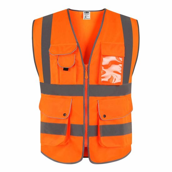 Construction Vest Reflective Waistcoat Safety Clothes with Pockets