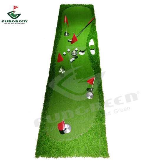 5 Holes Hot Selling Putting Rush Mat Golf Putter Green with 5 Cups