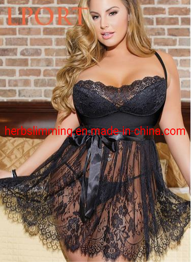 Hot Sexy Lingerie Plus Size Lace Sleepwear pictures & photos