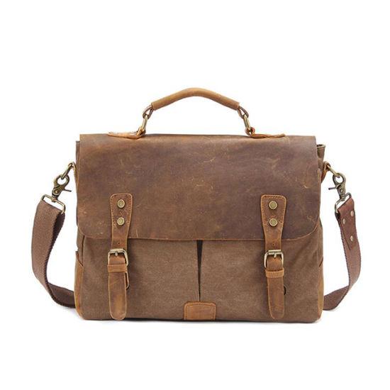 Leather Canvas Business Briefcase Shoulder Men's Sling Message Bag
