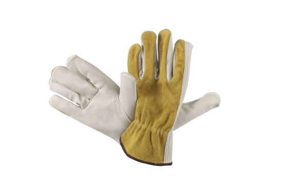 Leather Work Glove, Beige Color Palm with Gold Split Back Working Glove
