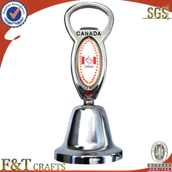 Custom Metal Engrave Logo Bottle Opener with Bell for Promotion