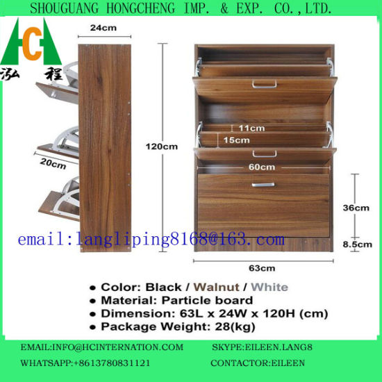 Walnut Color/Black/White Color Three Doors Shoe Cabinet pictures & photos