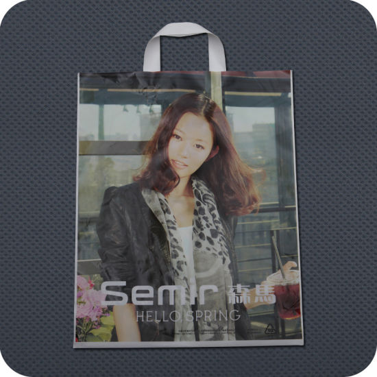 Custom Printed Plastic Carrier Bag with Soft-Loop Handle pictures & photos