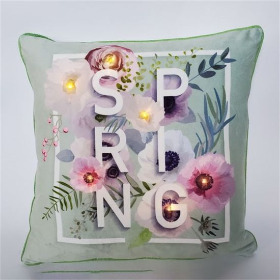 Beautiful Daily LED Pillow Cushion with Letters and Flowers for Home Decoration