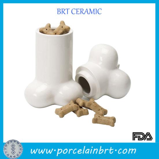Glossy Bone Desgin Cookier Porcelain Jar