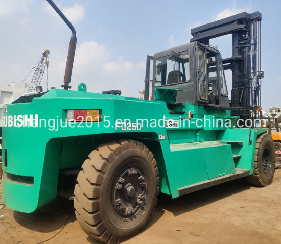 Good Quality Mitsubishi Fd250 Diesel Large Forklift Trucks with Pallet