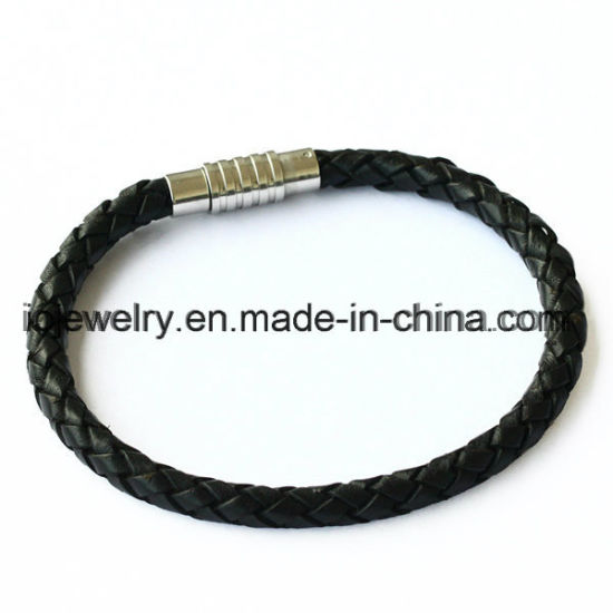 Leather Bracelet with Magnet Screw Clasp for Man