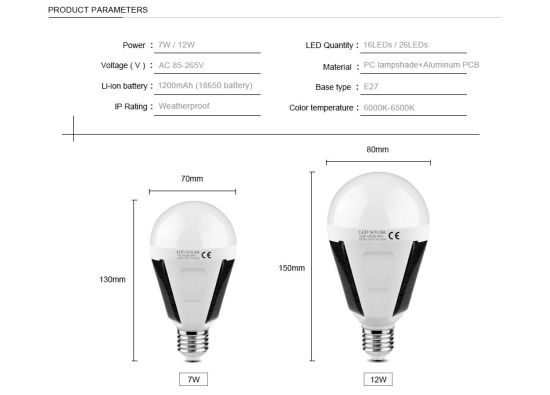 China Rechargeable LED Solar Emergency Bulb 7W 600-700lm