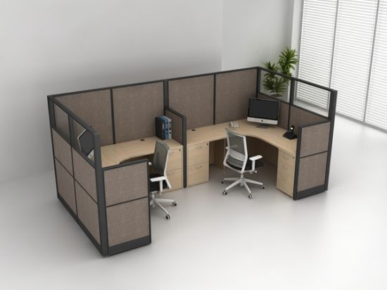 6 Person Cubicle Workstation Parion Modular Office Desk Furniture Melamine