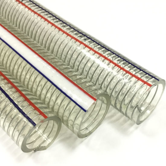 Flexible Clear PVC Spring Spiral Steel Wire Reinforced Water Fuel Suction Discharge Conduit Pipe Hose