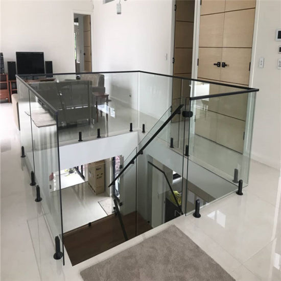 Customized Black Spigots Single Glass Railing Staircases Railing
