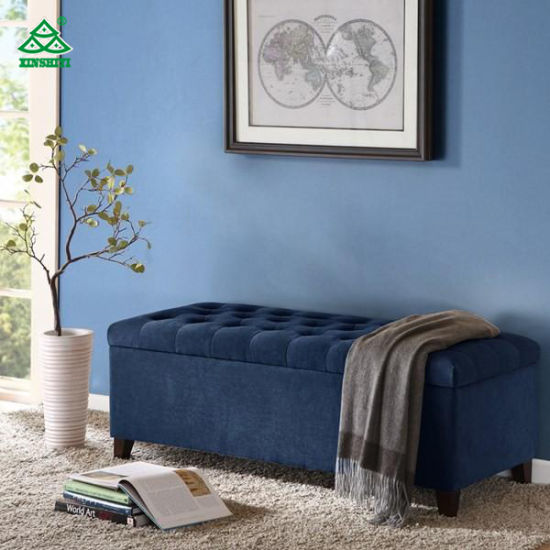 Swell Blue Velvet Upholstered Bench Seat 50 3W 19 29D 18 8H For Library Room Machost Co Dining Chair Design Ideas Machostcouk