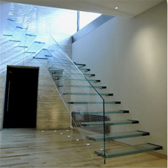 China Interior Modern Floating Staircase Tempered Glass ...