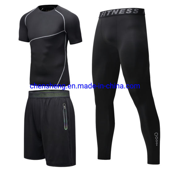 Men's 3-Piece Fitness Compressed Sports Running Training Suit