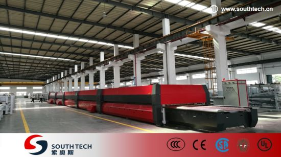 Southtech Full Automatic High Productivity Intelligent Control Double Chamber Glass Tempering Furnace Machine with Compressed Air Convection System Price