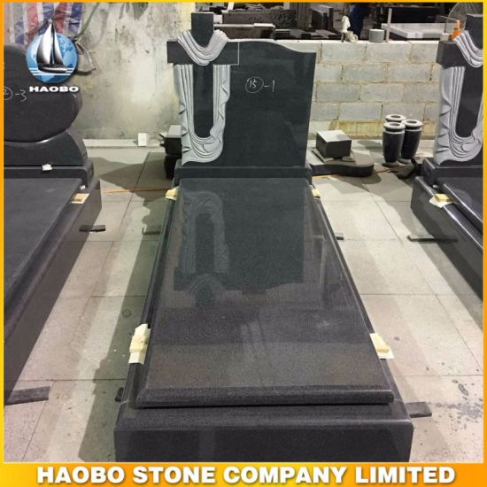 Ireland Style Tombstone Black Granite Monument with Cross Carved Headstone pictures & photos