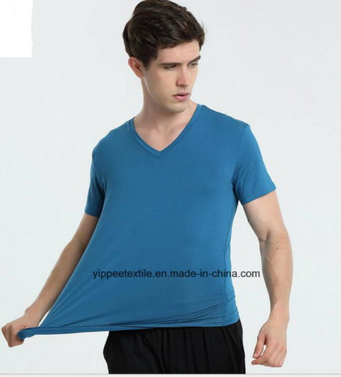 MOQ: 50pieces, Men V-Neck Bamboo T-Shirt Undershirt pictures & photos