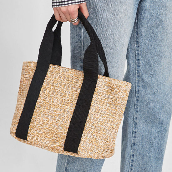 Wholesale Summer Black Handle Custom Straw Beach Bag Woven Straw Tote Bag