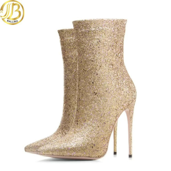 Fashion Hot Drilling Technology Gold Boots for Women