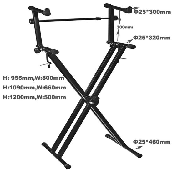 Two-Tier-X Keyboard Stand Quality Heavy-Duty X Style Dual Keyboard Stand