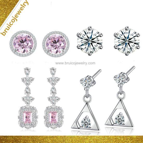 Jewellery Factory Wholesale 925 Sterling Silver 18K 14K 9K White Gold  Plating Jewelry Pearl CZ Earring