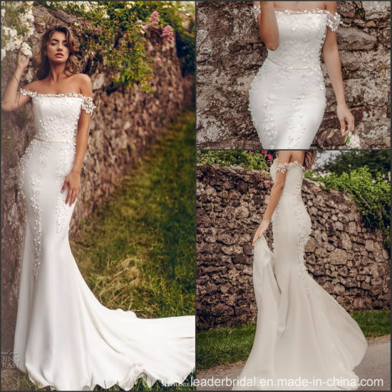 China Off Shoulder Bridal Gown Mermaid Lace Itlay Satin Wedding