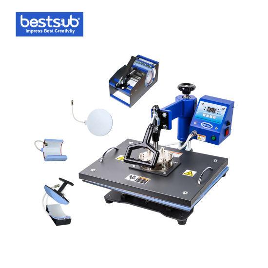 Sublimation Coffee Mug Cap T Shirt Printing Transfer 8-in-1 Combo Digital Heat Press Machine (JTSD72)