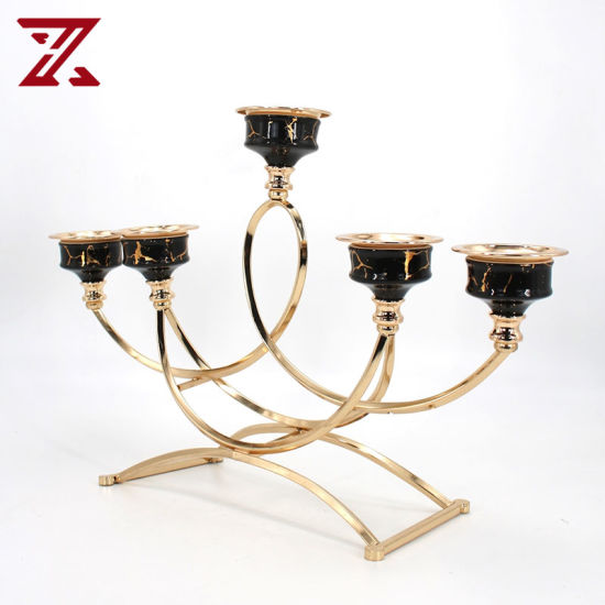 Wholesale Gold Electroplated ceramic Candle Holder for Hotel Decoration