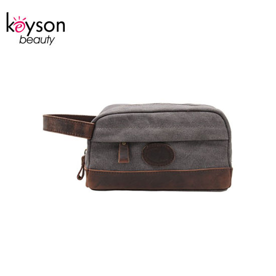 8fb77efcad3b Personalized Mens Canvas Leather Toiletry Bag Shaving Dopp Kit Pouch