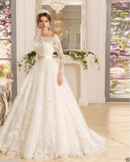 6bdca3e35da56 China 3/4 Sleeves Bridal Ball Gowns Custom Lace Wedding Dress Wd80 ...