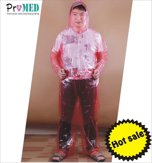 Red water/fluid proof PE/CPE/Plastic Impervious separate raincoat pictures & photos