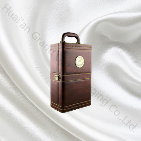 Factory Price Wine Package Holder Carrier Case Wine Leather Box Gift Box pictures & photos