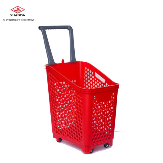 Heavy Duty Four Wheels Plastic Supermarket Laundry Basket
