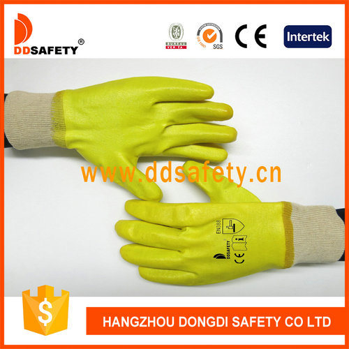 Yellow Nitrile Fully Coating and Cotton Liner with Knitted Wrist Safety Gloves