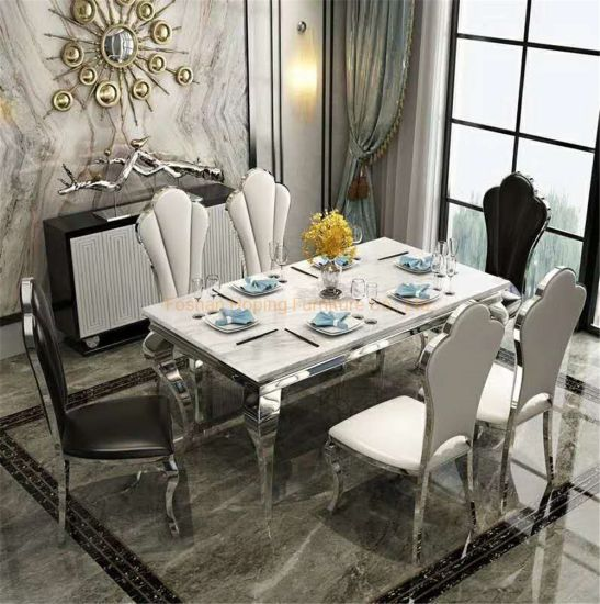Modern Style Living Room Furniture Hotel Restaurant Metal White Top Dining Table